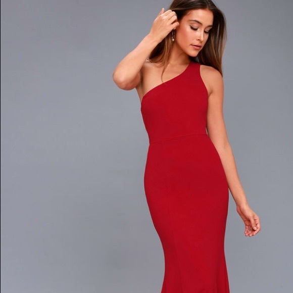 814cfdd4705 Lulu's Dresses | Lulus Brittany One Shoulder Wine Red Gown | Poshmark